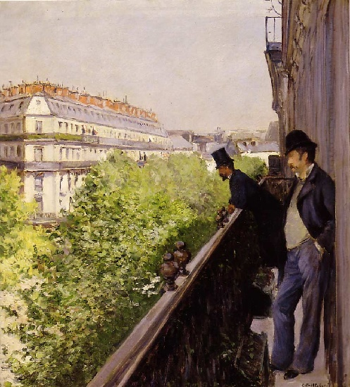 A Balcony, Oil by Gustave Caillebotte (1848-1894, France)