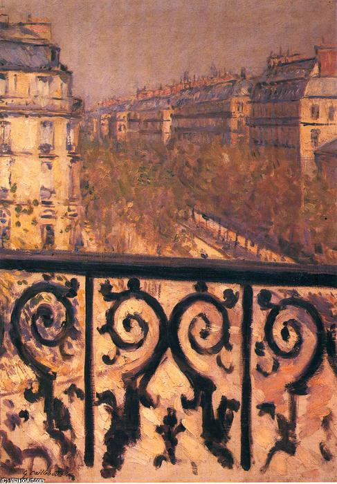 A Balcony in Paris, 1881 by Gustave Caillebotte (1848-1894, France) | Famous Paintings Reproductions | WahooArt.com