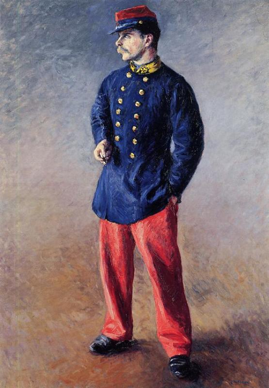 A Soldier, Oil On Canvas by Gustave Caillebotte (1848-1894, France)