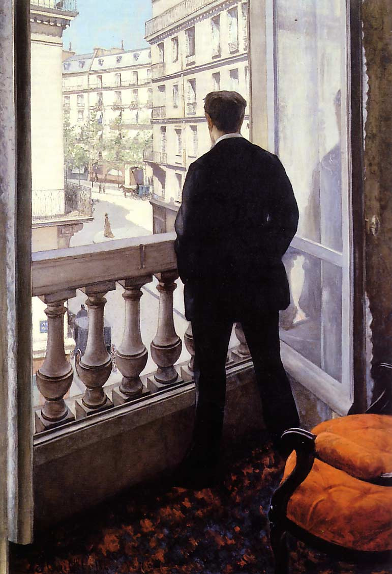 A Young Man at His Window, 1875 by Gustave Caillebotte (1848-1894, France) | Painting Copy | WahooArt.com