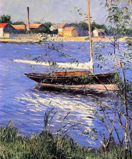 Anchored Boat on the Seine at Argenteuil, Oil by Gustave Caillebotte (1848-1894, France)