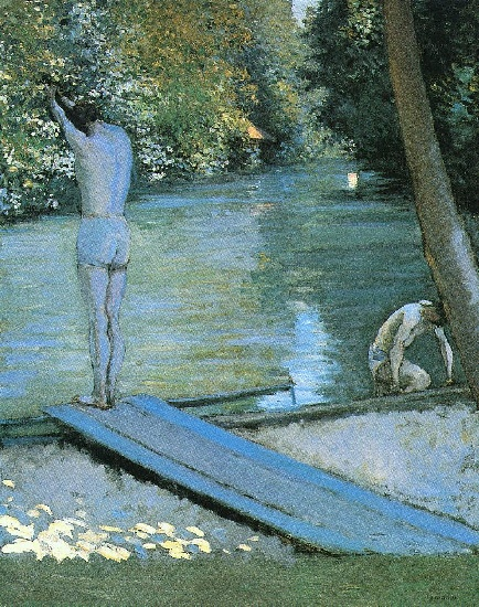 Bather Preparing to Dive, Banks of the Yerres, Oil by Gustave Caillebotte (1848-1894, France)