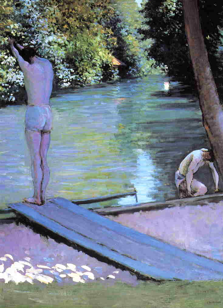Bather Preparing to Dive, Banks of the Yerres by Gustave Caillebotte (1848-1894, France) | Oil Painting | WahooArt.com