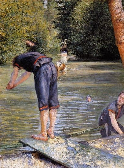 bathers, Oil by Gustave Caillebotte (1848-1894, France)