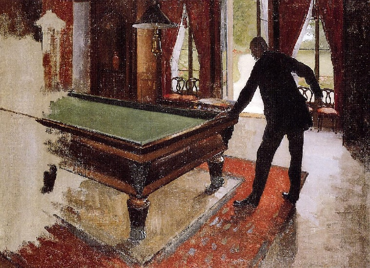 Billiards (unfinished), Oil by Gustave Caillebotte (1848-1894, France)