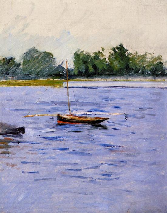 Boat at Anchor on the Seine, Oil On Canvas by Gustave Caillebotte (1848-1894, France)