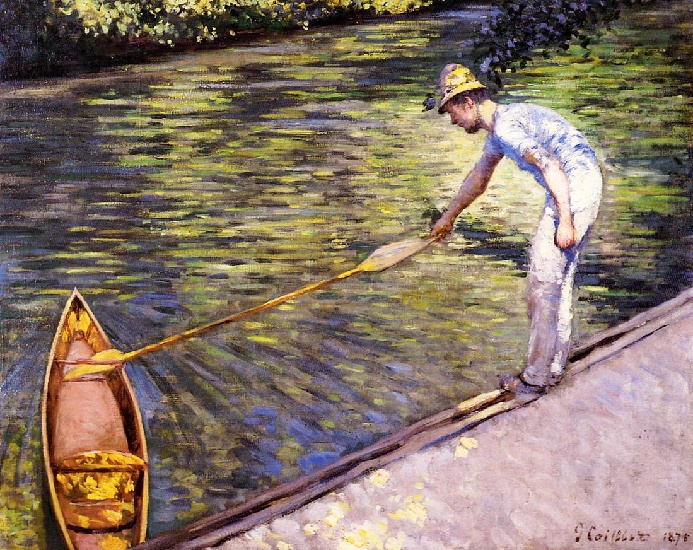 Boater Pulling on His Perissoire, Oil by Gustave Caillebotte (1848-1894, France)