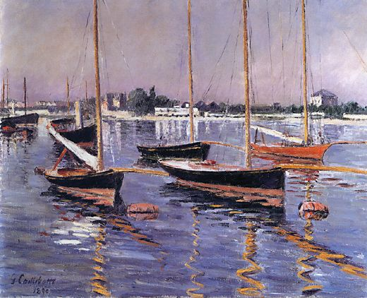 Boats on the Seine at Argenteuil, Oil On Canvas by Gustave Caillebotte  (order Fine Art Framed Giclee Gustave Caillebotte)