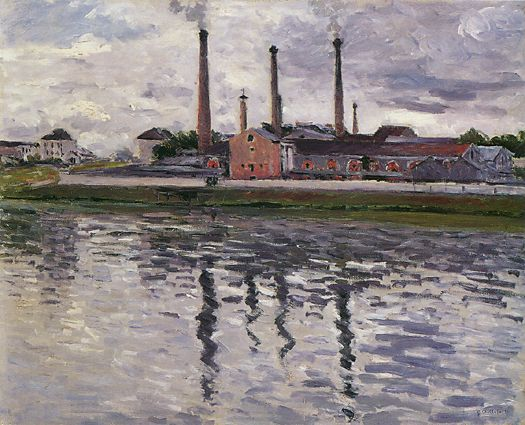 Factories at Argenteuil, 1888 by Gustave Caillebotte (1848-1894, France) | Museum Quality Reproductions | WahooArt.com