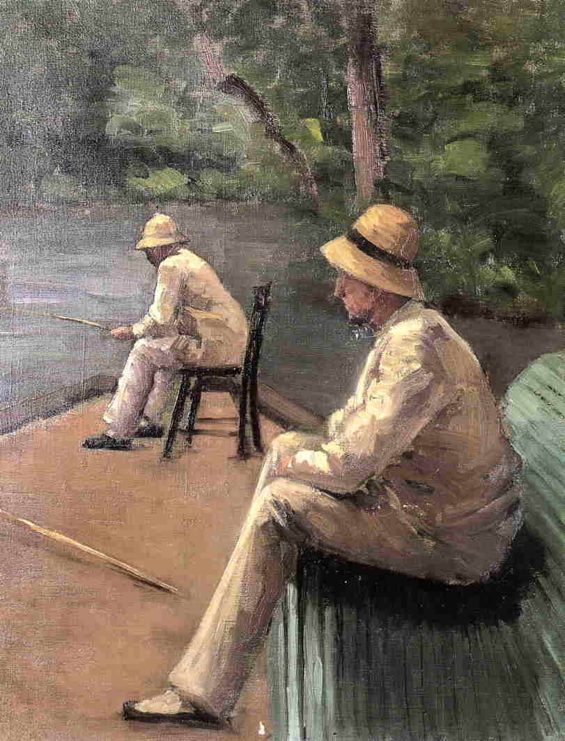 Fishermen on the Banks of the Yerres, Oil On Canvas by Gustave Caillebotte (1848-1894, France)