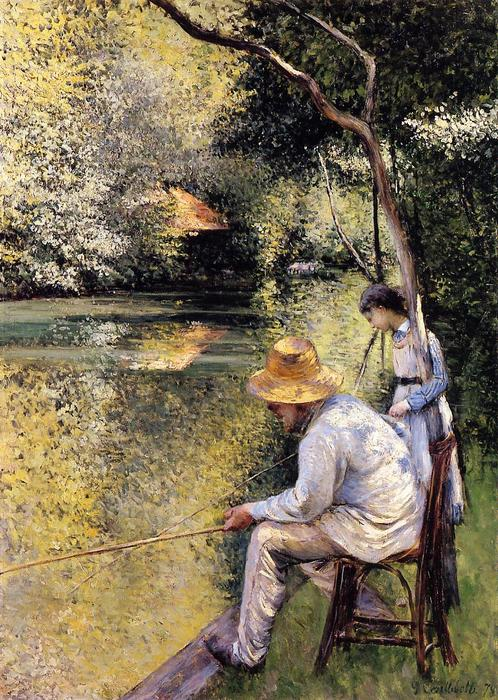 Fishing, Oil On Canvas by Gustave Caillebotte (1848-1894, France)