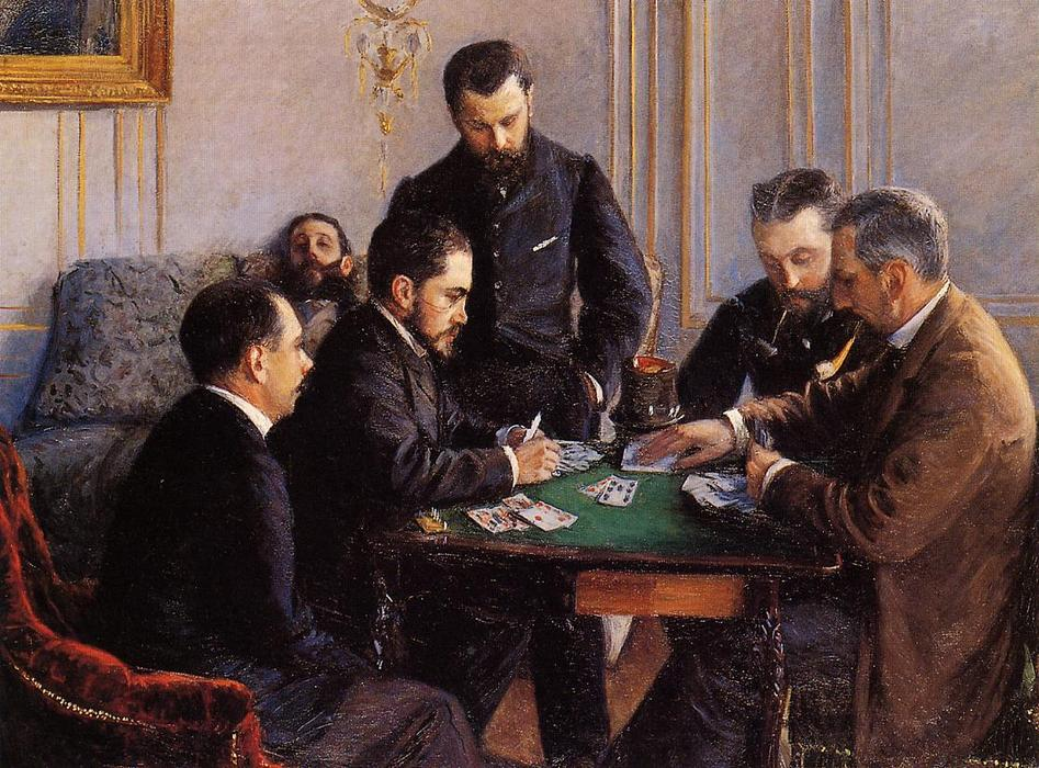 Game of Bezique, 1880 by Gustave Caillebotte (1848-1894, France) | WahooArt.com