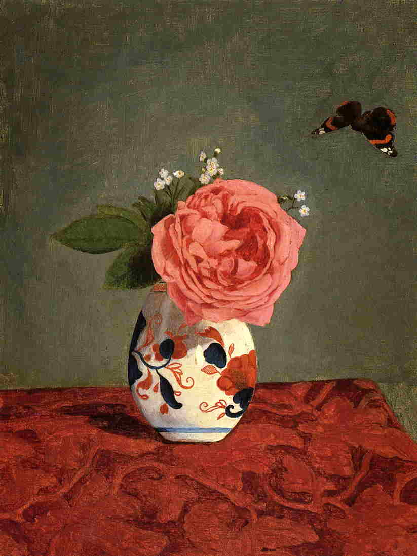 Garden Rose and Blue Forget Me Nots in a Vase, Oil On Canvas by Gustave Caillebotte (1848-1894, France)