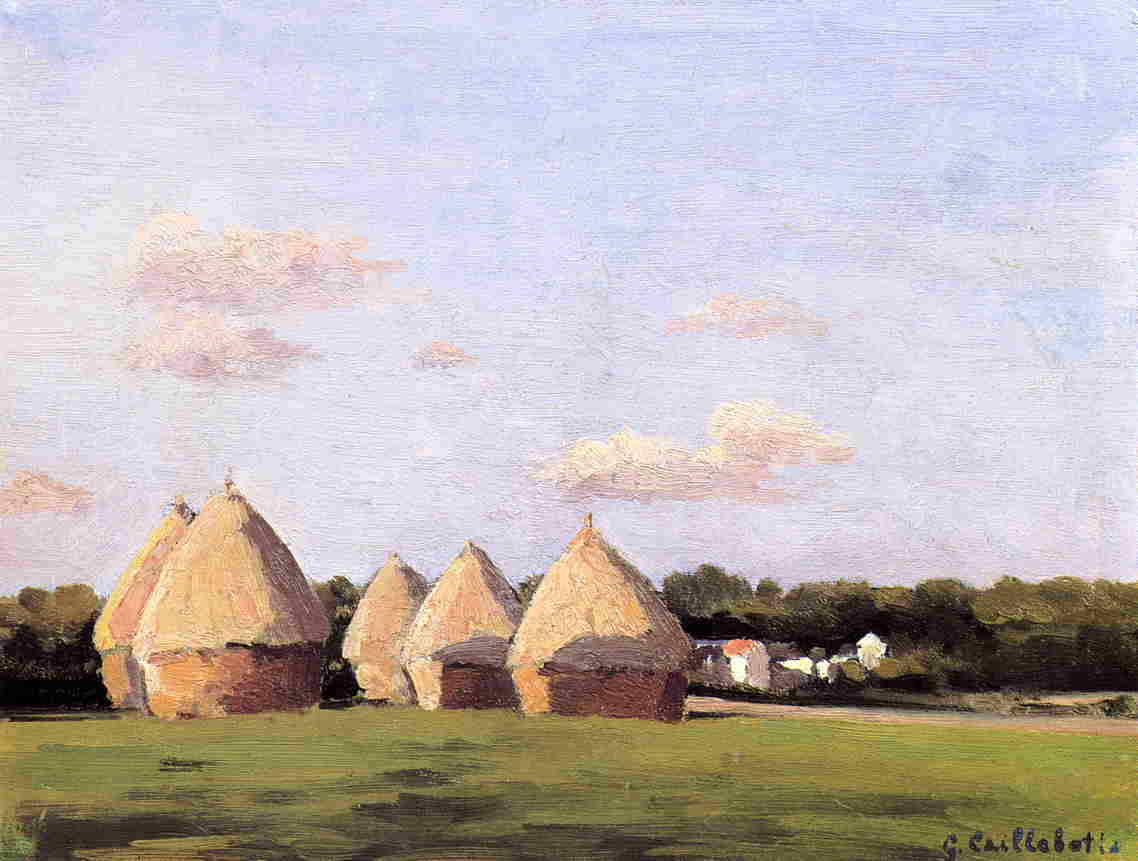 Harvest, Landscape with Five Haystacks, 1878 by Gustave Caillebotte (1848-1894, France) | Painting Copy | WahooArt.com