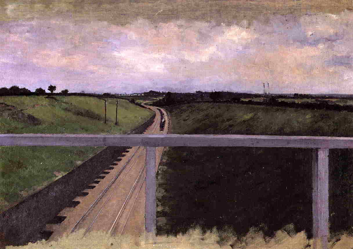 Landscape with Railway Tracks, Oil On Canvas by Gustave Caillebotte (1848-1894, France)