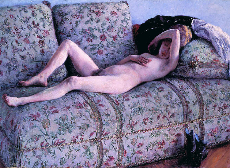 nud coucs, Oil by Gustave Caillebotte (1848-1894, France)