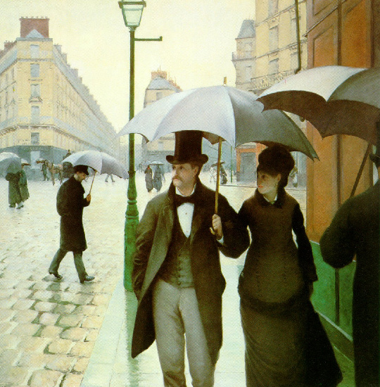 Paris street, Rainy Day, Oil by Gustave Caillebotte (1848-1894, France)