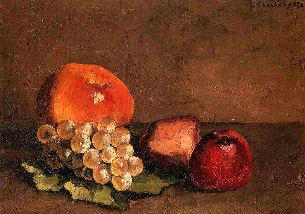 Peaches, Apples and Grapes on a Vine Leaf, Oil On Canvas by Gustave Caillebotte (1848-1894, France)