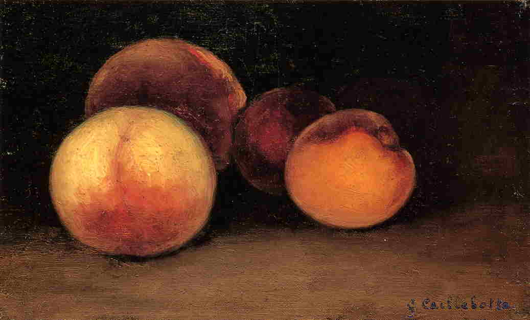 Peaches, Nectarines and Apricots, Oil On Canvas by Gustave Caillebotte (1848-1894, France)