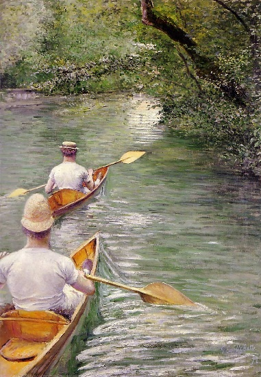 Perissoires aka The Canoes, Oil by Gustave Caillebotte (1848-1894, France)