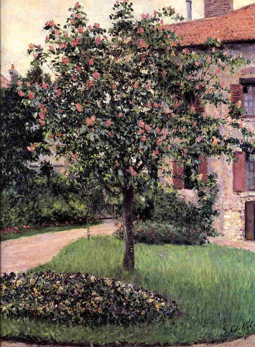 Petit Gennevilliers, Facade, Southeast of the Artist`s Studio, Overlooking the Garden, Spring by Gustave Caillebotte (1848-1894, France) | Oil Painting | WahooArt.com
