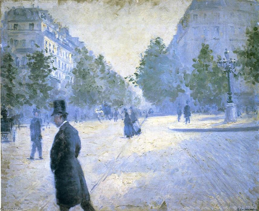 Place Saint Augustin, Misty Weather, Oil On Canvas by Gustave Caillebotte (1848-1894, France)