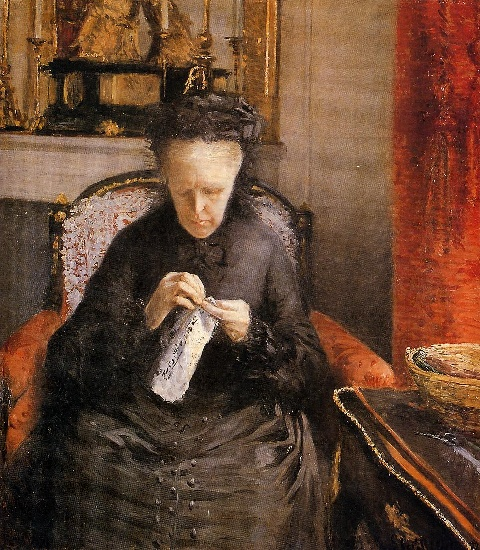 Portait of Madame Martial Caillebote (the artist's mother), Oil by Gustave Caillebotte (1848-1894, France)