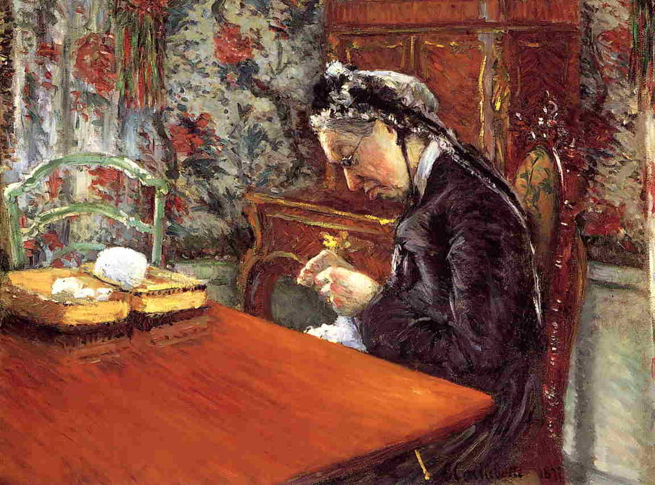 Portrait of Madame Boissiere Knitting, 1877 by Gustave Caillebotte (1848-1894, France) | Famous Paintings Reproductions | WahooArt.com