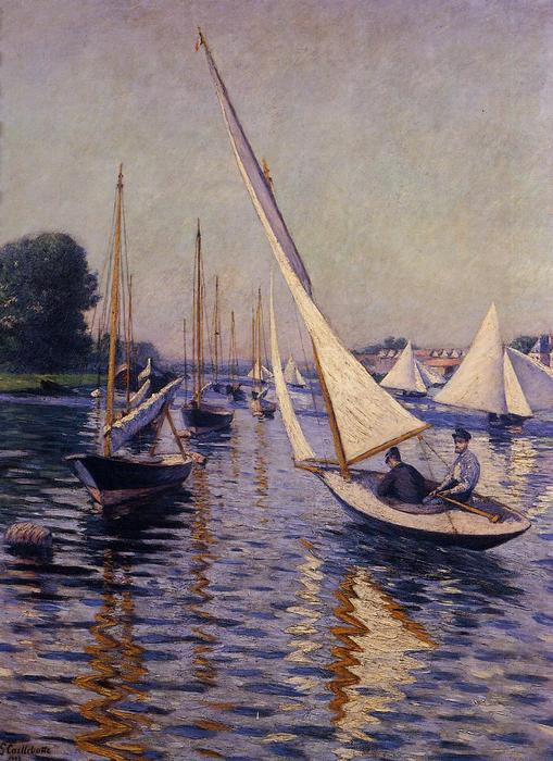 Regatta at Argenteuil, Oil On Canvas by Gustave Caillebotte (1848-1894, France)