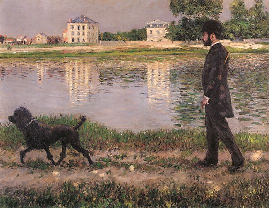 Richard Gallo and His Dog at Petit Gennevilliers, Oil On Canvas by Gustave Caillebotte (1848-1894, France)