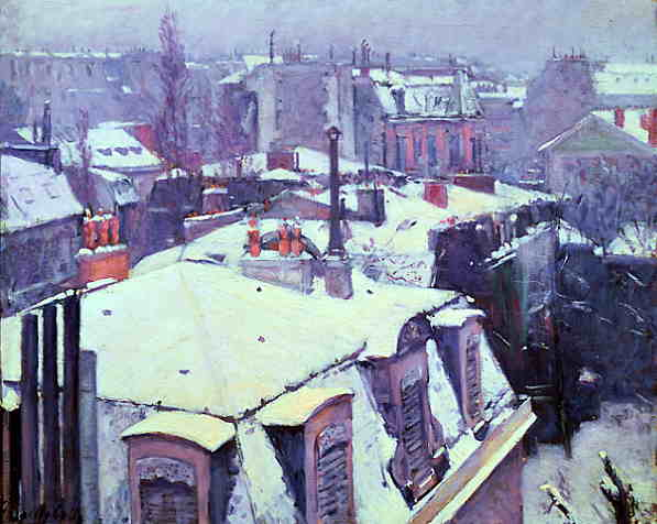 Rooftops Under Snow by Gustave Caillebotte (1848-1894, France) | Famous Paintings Reproductions | WahooArt.com