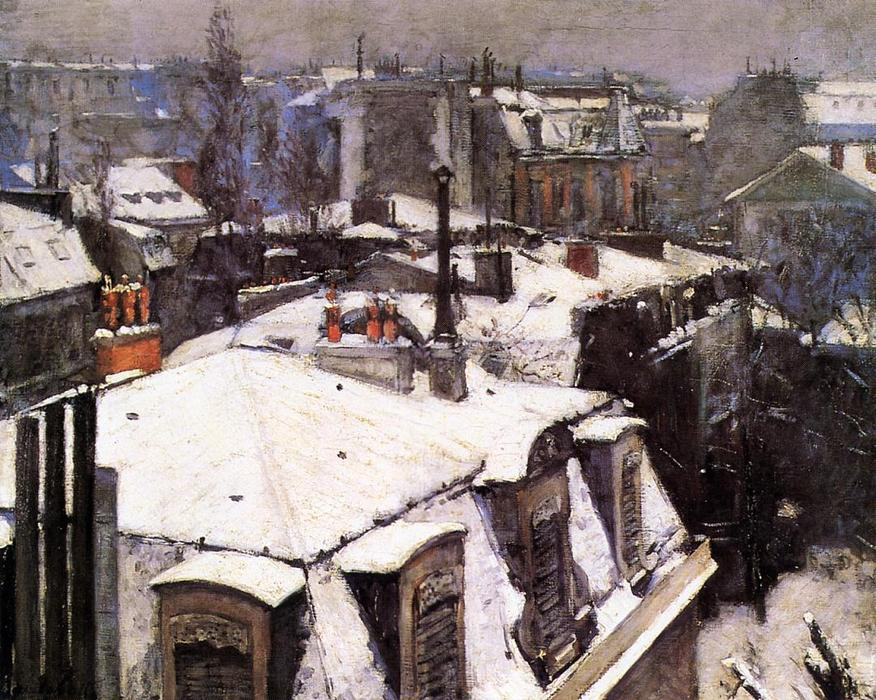 Rooftops Under Snow, 1878 by Gustave Caillebotte (1848-1894, France) | Museum Quality Reproductions | WahooArt.com