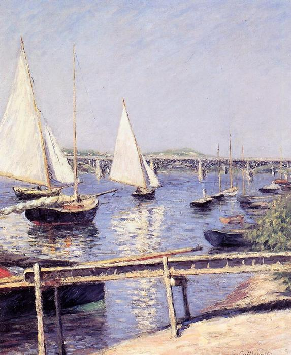 Sailboats in Argenteuil, 1888 by Gustave Caillebotte (1848-1894, France) | Oil Painting | WahooArt.com