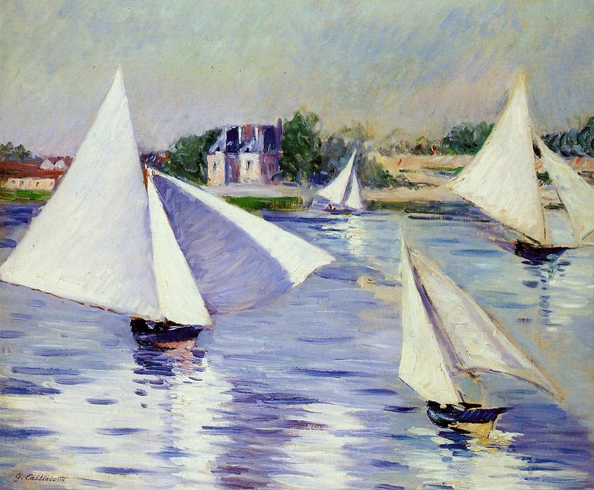 Sailboats on the Seine at Argenteuil, Oil On Canvas by Gustave Caillebotte (1848-1894, France)