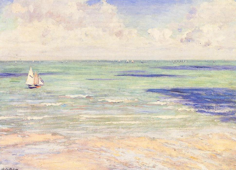 Seascape, Regatta at Villers, Oil On Canvas by Gustave Caillebotte (1848-1894, France)