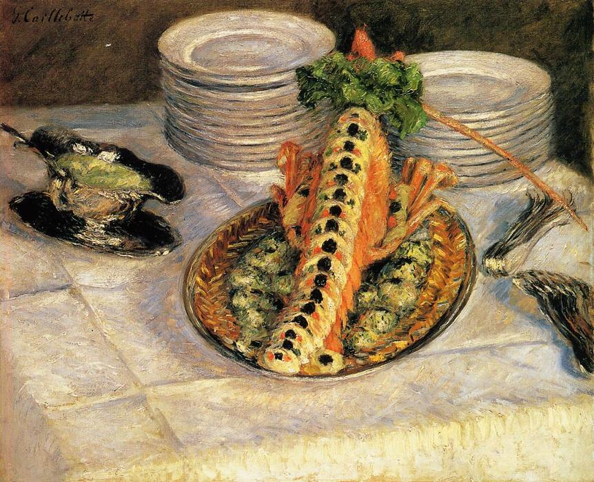 Still Life with Crayfish, Oil On Canvas by Gustave Caillebotte (1848-1894, France)
