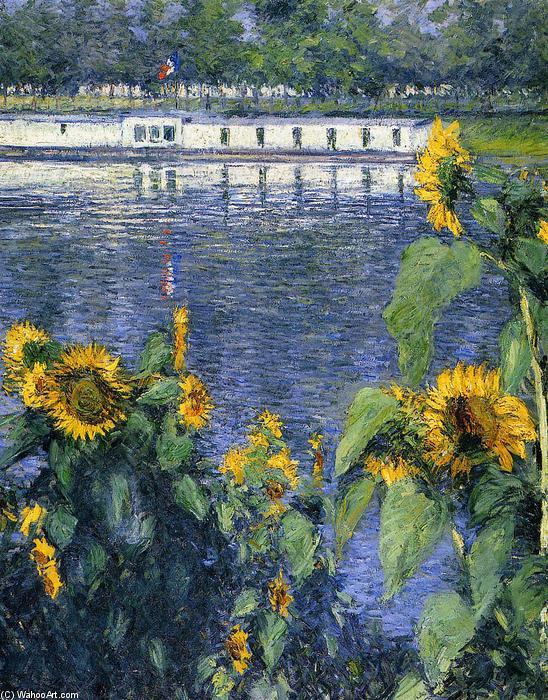 Sunflowers on the Banks of the Seine, Oil On Canvas by Gustave Caillebotte (1848-1894, France)