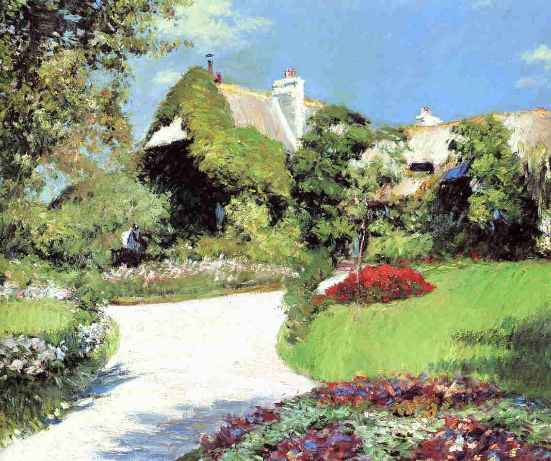 Thatched Cottage, Trouville by Gustave Caillebotte (1848-1894, France) | Famous Paintings Reproductions | WahooArt.com