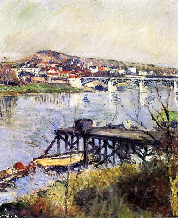 The Argenteuil Bridge, Oil On Canvas by Gustave Caillebotte (1848-1894, France)