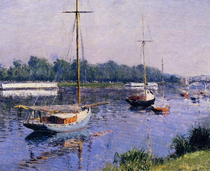 The Basin at Argenteuil, Oil by Gustave Caillebotte (1848-1894, France)