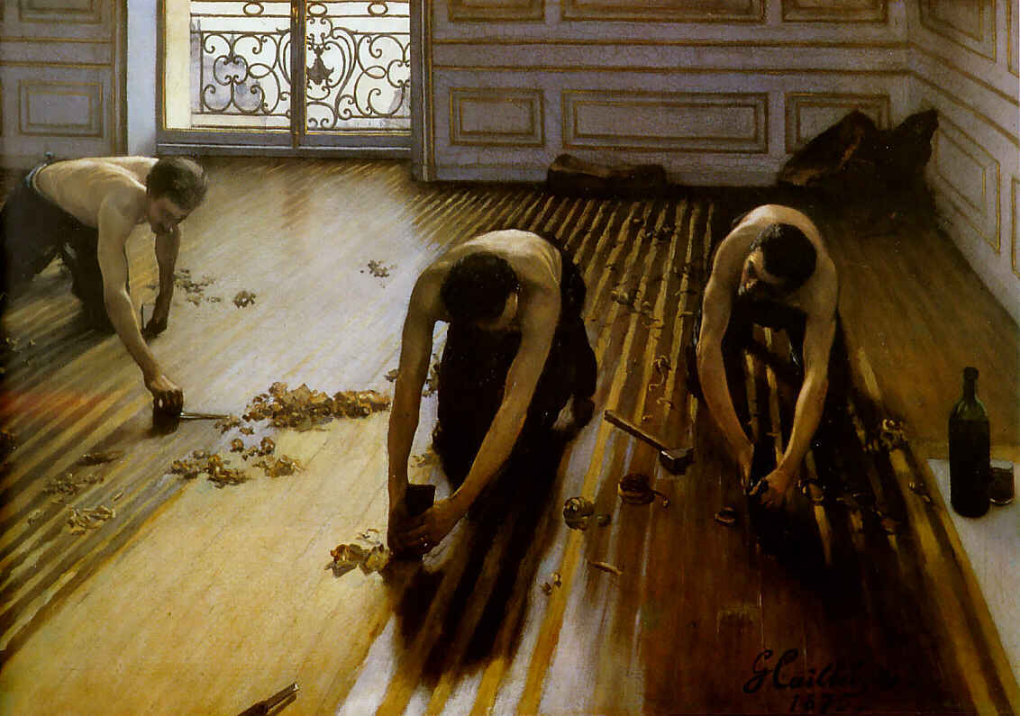 The Floor Scrapers aka The Floor Strippers, Oil by Gustave Caillebotte (1848-1894, France)