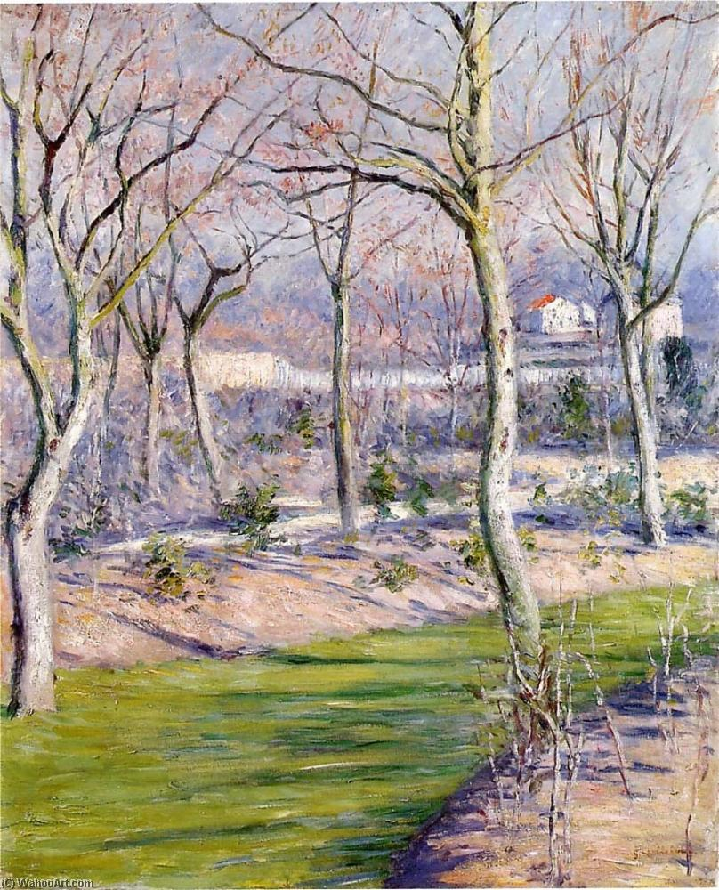 The Garden at Petit Gennevilliers in Winter, Oil by Gustave Caillebotte  (order Fine Art Hand Painted Oil Painting Gustave Caillebotte)