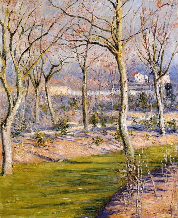 The Garden at Petit Gennevilliers in Winter, 1894 by Gustave Caillebotte (1848-1894, France) | Oil Painting | WahooArt.com