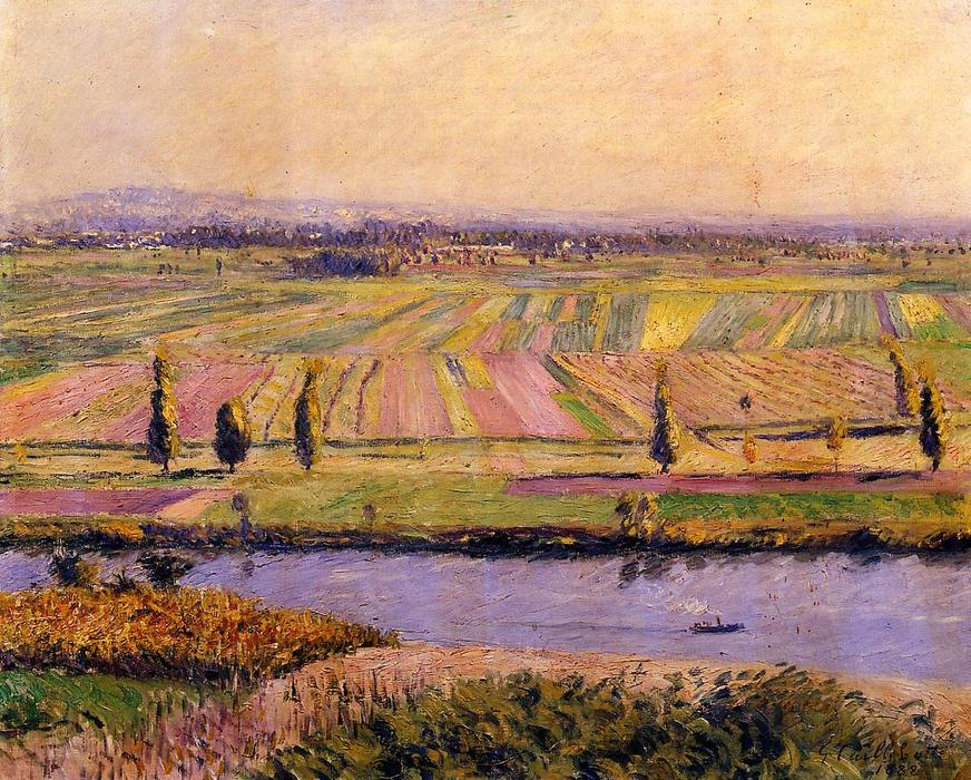 The Gennevilliers Plain, Seen from the Slopes of Argenteuil, Oil On Canvas by Gustave Caillebotte (1848-1894, France)