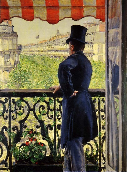 The Man on the Balcony, Oil by Gustave Caillebotte (1848-1894, France)