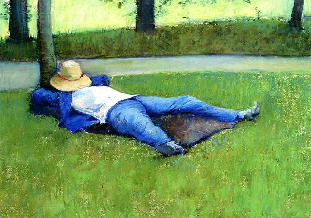 The Nap, Pastel by Gustave Caillebotte (1848-1894, France)