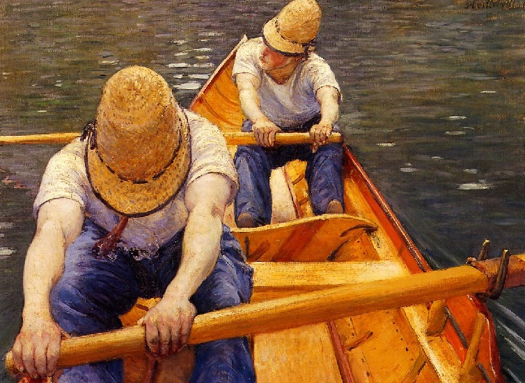 The Oarsmen, Oil by Gustave Caillebotte (1848-1894, France)