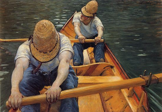 The Oarsmen, 1877 by Gustave Caillebotte (1848-1894, France) | Art Reproduction | WahooArt.com