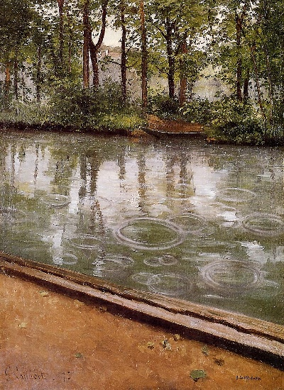 The Yerres, Rain aka Riverbank in the Rain, Oil by Gustave Caillebotte (1848-1894, France)