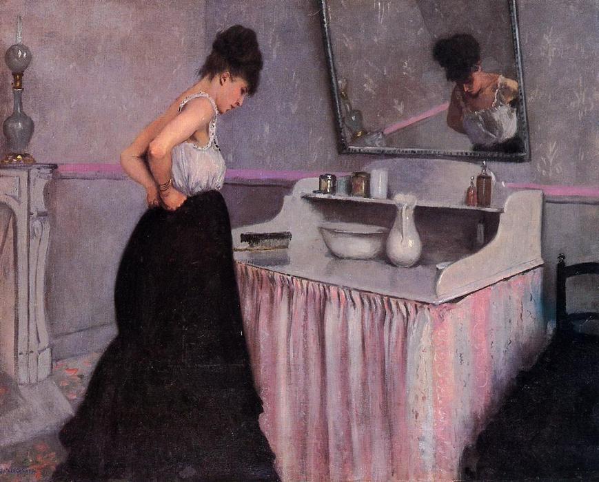 Woman at a Dressing Table, 1873 by Gustave Caillebotte (1848-1894, France) | WahooArt.com